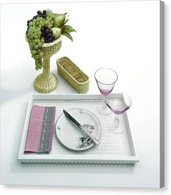 A Summer Table Setting On A Tray Canvas Print