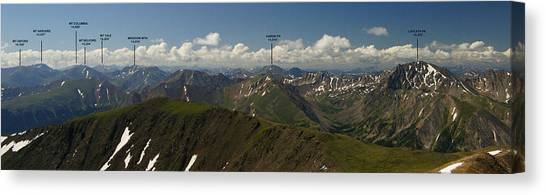 A Summit View Panorama With Peak Labels Canvas Print