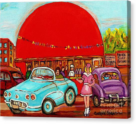 Rollerblading Canvas Print - A Sunny Day At The Big Oj- Paintings Of Orange Julep-server On Roller Blades-carole Spandau by Carole Spandau
