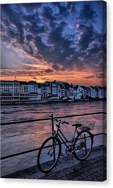 Touring Canvas Print - A Sunset Cycle By The Rhine Basel by Carol Japp