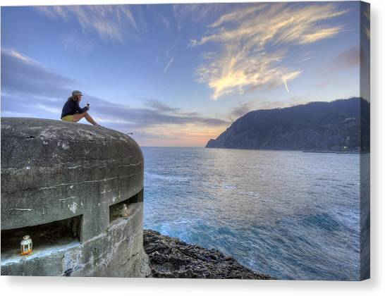 A Sunset Glass Of Wine And A Wwii Pillbox Canvas Print