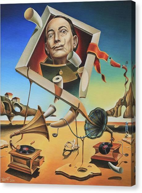 Salvador Dali Canvas Print - A Surreal Simulacrum Of Salvador Dali by Dragomir Minkov