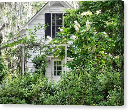 A Swell Side Entrance With Oakleaf Hydrangea Canvas Print