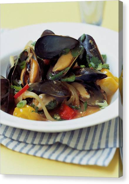 A Thai Dish Of Mussels And Papaya Canvas Print