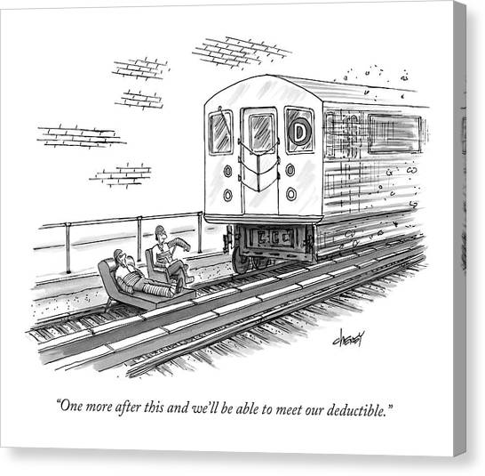 Train Canvas Print - A Therapist Speaks To A Patient On Train Tracks by Tom Cheney