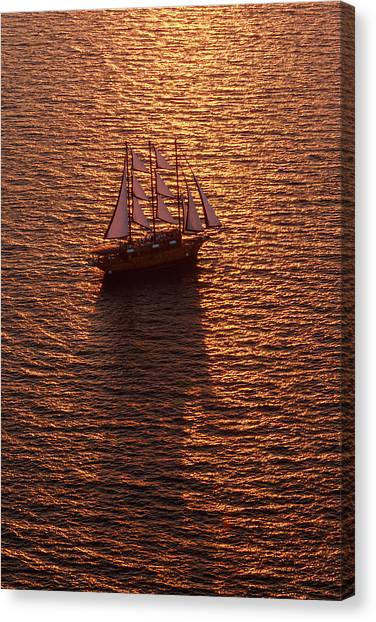 A Three-masted Sailing Ship With Full Canvas Print by Mint Images - Art Wolfe