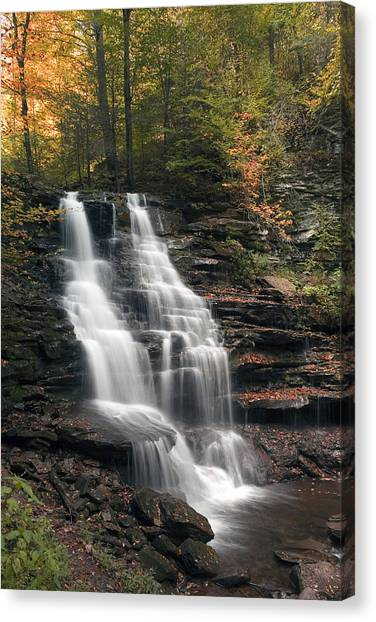 A Touch Of Autumn At Erie Falls Canvas Print