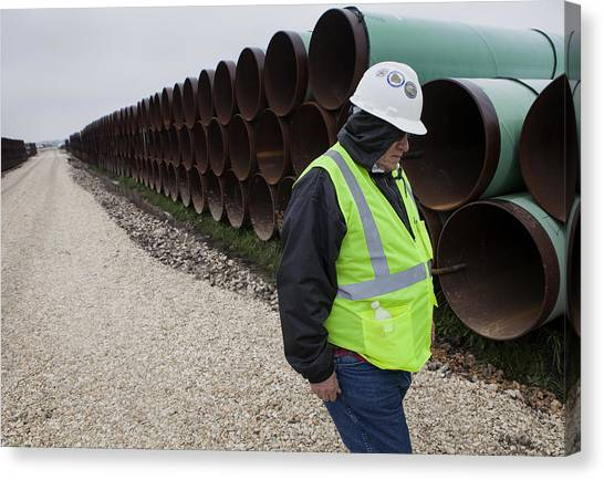 A Tour Of The Transcanada Houston Lateral Project Pipe Yard Canvas Print by Bloomberg