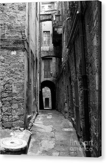 Drain Pipe Canvas Print - A Town In Tuscany 3 Bw by Mel Steinhauer