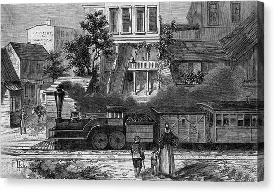 A Train Of The Camden & Amboy Canvas Print by Mary Evans Picture Library