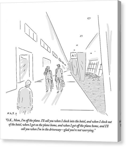 A Traveler Walking Through The Airport Speaks Canvas Print by Kim Warp