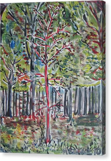 American Jewish Artists Canvas Print - A Tree Grows In Marine Park by Jacob Mezrahi