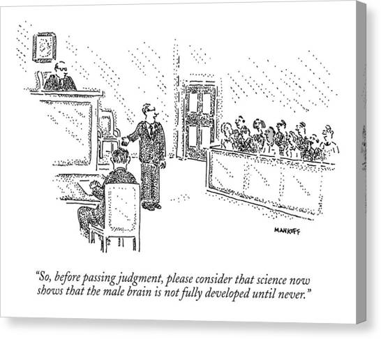 Trial Canvas Print - A Trial Lawyer Addresses A Grand Jury by Robert Mankoff