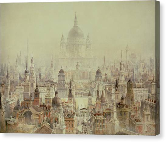 Wrens Canvas Print - A Tribute To Sir Christopher Wren by Charles Robert Cockerell