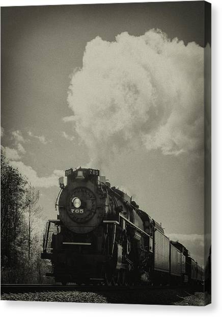 A Trip In The Past-the 765 Steam Locomotive Canvas Print