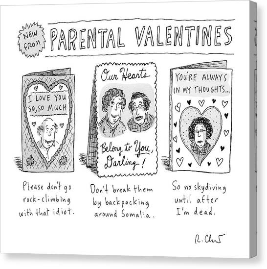 Worried Canvas Print - A Triptych Of Parental Valentines Day Cards That by Roz Chast
