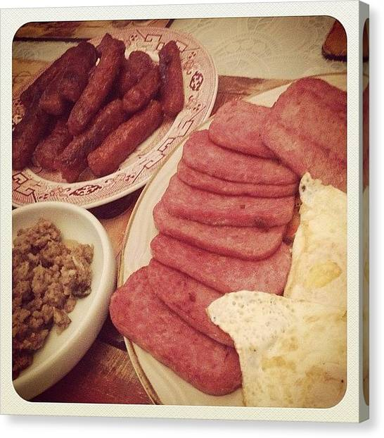 Spam Canvas Print - A Typicle Filipino Dinner ...spam, Egg by Zyrus Zarate