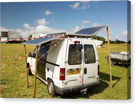 Fracking Canvas Print - A Van With Solar Panels Attached by Ashley Cooper