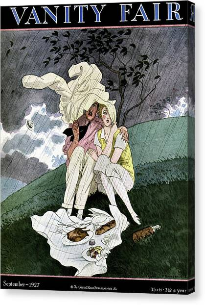 A Vanity Fair Cover Of A Couple Picnicking Canvas Print