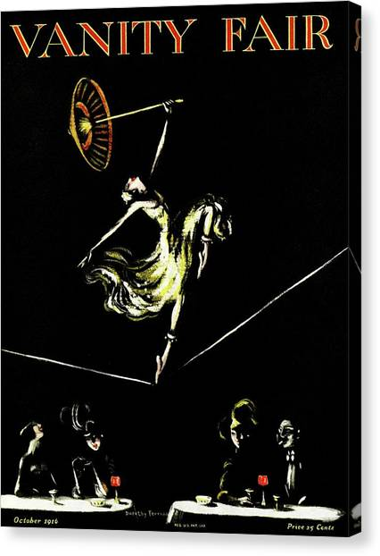 A Vanity Fair Cover Of A Woman Tightrope Walking Canvas Print by Artist Unknown
