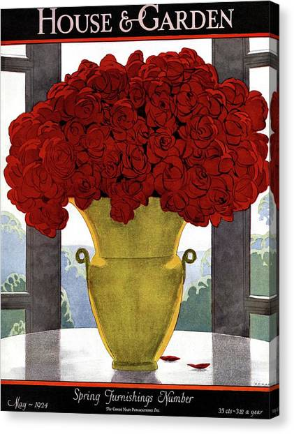 A Vase With Red Roses Canvas Print
