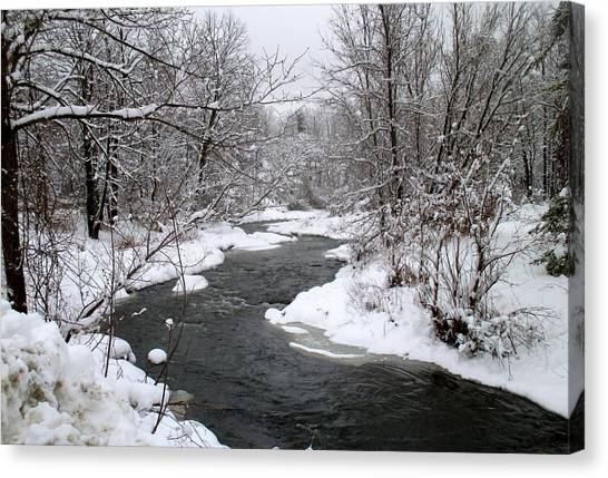 A Vermont Stream In Winter Canvas Print