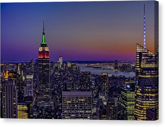 The City That Never Sleeps Canvas Print - A View From The Top by Susan Candelario