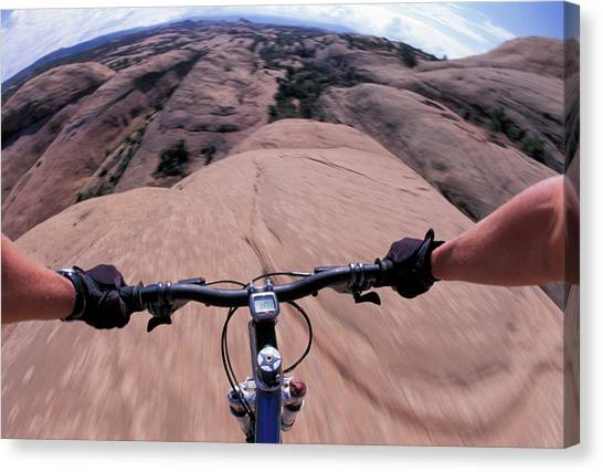 It Professional Canvas Print - A View Of A Female Mountain Bikers by Corey Rich