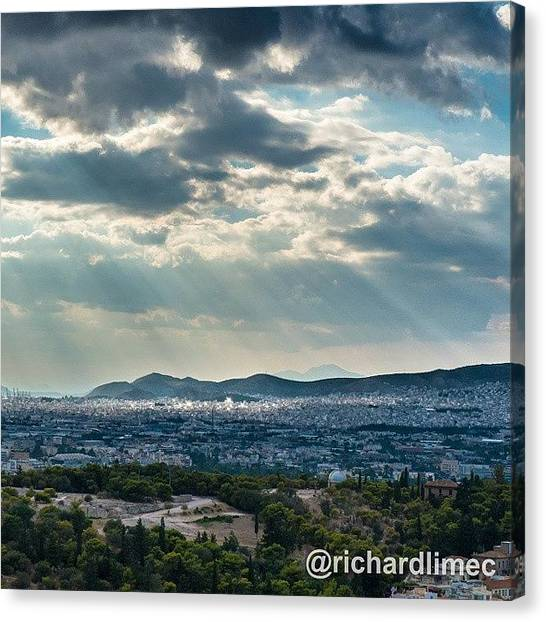 The Acropolis Canvas Print - A View Of Athens From Acropolis by Richard Lim