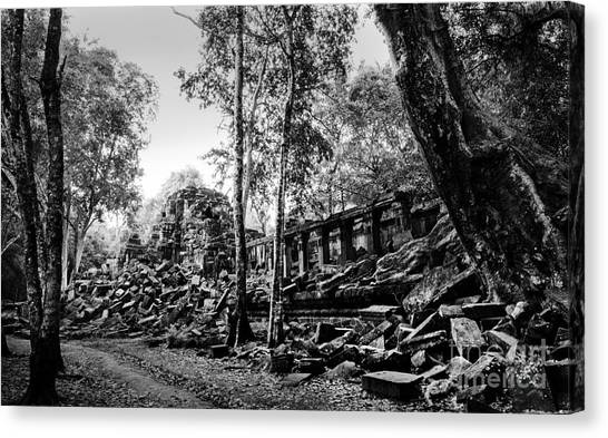 Canvas Print featuring the photograph A View Of Beng Mealea by Julian Cook