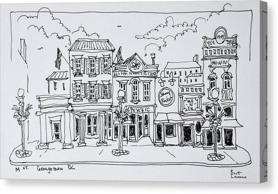 Scotty Canvas Print - A View Of M Street In Georgetown by Richard Lawrence
