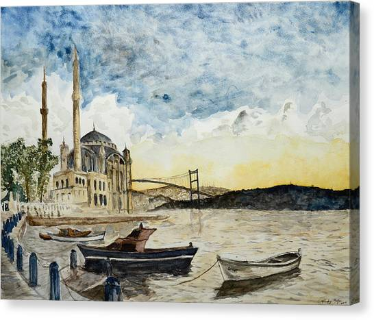 A View Of The Bosphorous Bridge From The Docks Of The Ortakoy Mosque Canvas Print