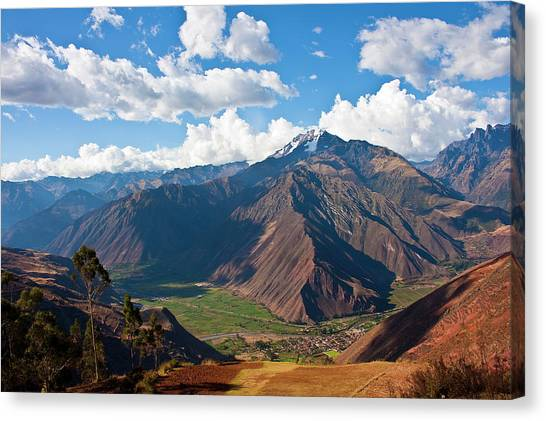 Andes Mountains Canvas Print - A View Of The Sacred Valley And Andes by Miva Stock