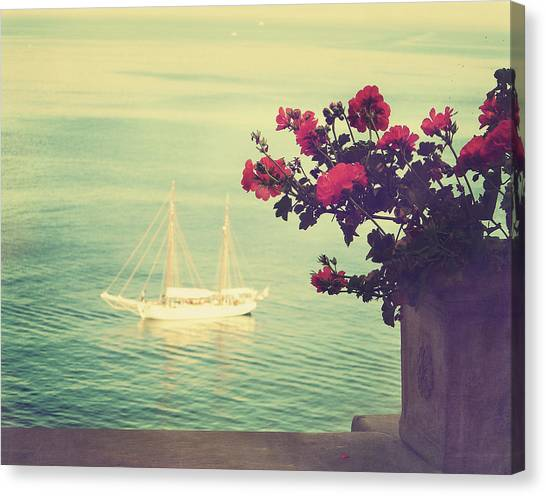 Vase Of Flowers Canvas Print - A View Of The Sea At Sorrento, Campania by Marco Misuri