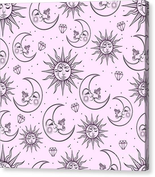 Sun Canvas Print - A Vintage Seamless Pattern That by Tatiana Apanasova