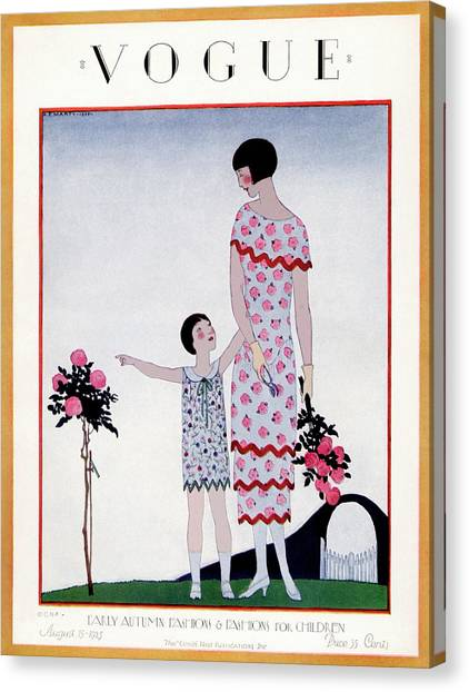 A Vintage Vogue Magazine Cover Of A Child Canvas Print by Andre E Marty