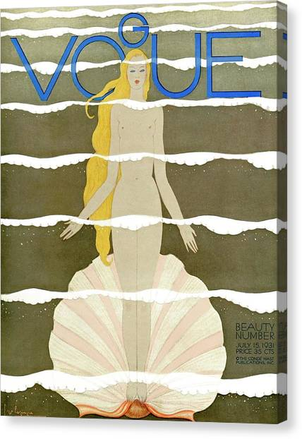 A Vintage Vogue Magazine Cover Of A Naked Woman Canvas Print