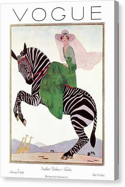 Fashion Canvas Print - A Vintage Vogue Magazine Cover Of A Woman by Andre E.  Marty