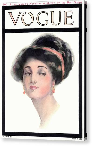 Updo Canvas Print - A Vintage Vogue Magazine Cover Of A Young Woman by Helen Dryden
