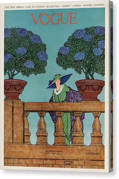A Vogue Cover Of A Woman At A Balustrade Canvas Print by Wilson Karcher