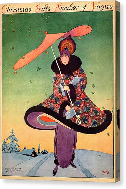 A Vogue Cover Of A Woman Holding An Umbrella Canvas Print by George Wolfe Plank