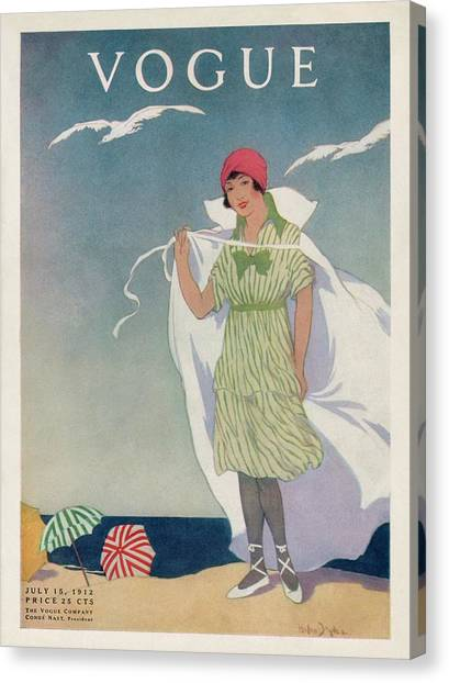 A Vogue Cover Of A Woman On A Beach Canvas Print by Helen Dryden