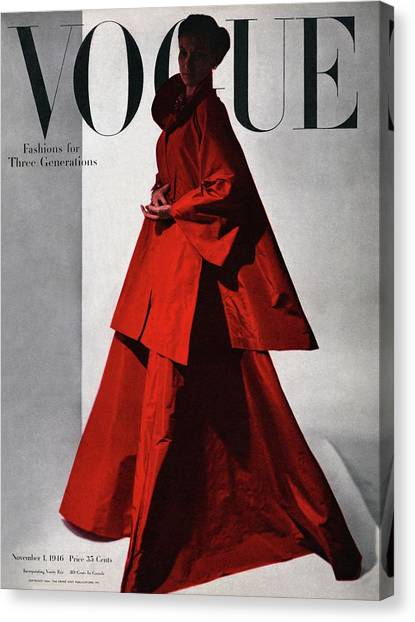 A Vogue Cover Of A Woman Wearing A Red Canvas Print by Horst P. Horst