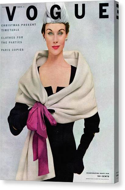 A Vogue Cover Of A Woman Wearing Balenciaga Canvas Print by Frances Mclaughlin-Gill
