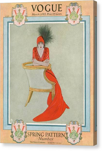 146062e2f09f2b Cloche Canvas Print - A Vogue Cover Of A Woman Wearing Orange by Arthur  Finley