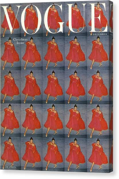 Old Fashioned Canvas Print - A Vogue Cover Of A Woman Wearing Red by Clifford Coffin