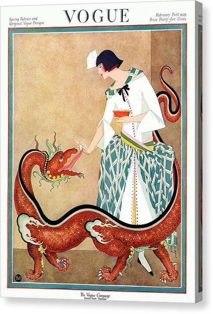 A Vogue Cover Of A Woman With A Chinese Dragon Canvas Print