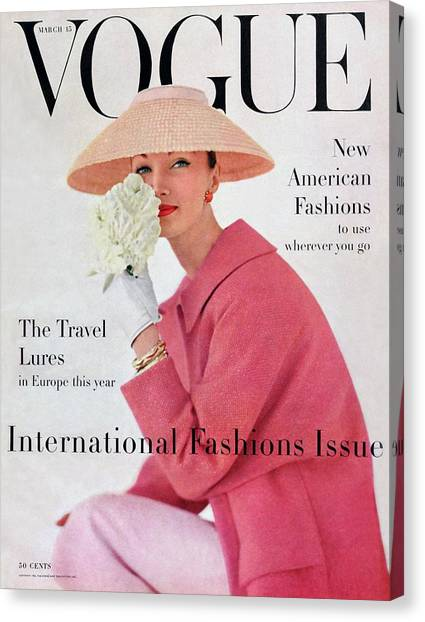 Vintage Camera Canvas Print - A Vogue Cover Of Evelyn Tripp Wearing Pink by Karen Radkai