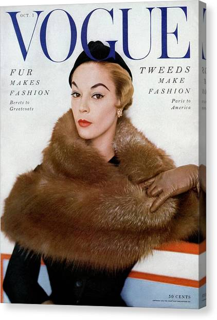 A Vogue Cover Of Jean Patchett Wearing A Fur Wrap Canvas Print