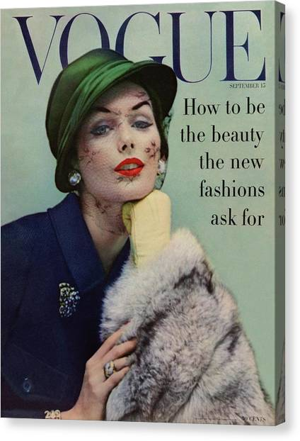 Old Fashioned Canvas Print - A Vogue Cover Of Lucinda Hollingsworth With A Fur by Karen Radkai